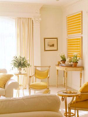 В желтом цвете интерьер