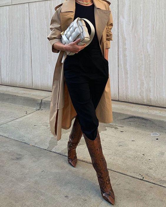 Фото: Как модницы носят высокие кожаные сапоги на каблуке